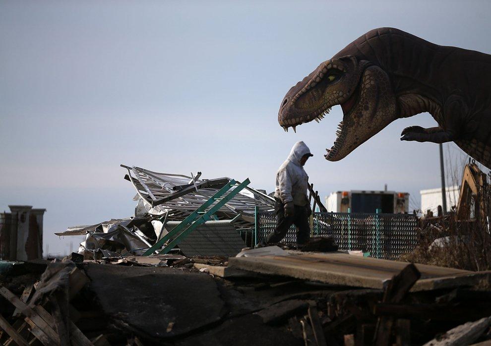 Man walking into debris