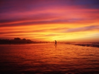 Man walking on sunrise
