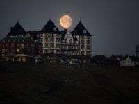 Moon over hotel